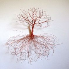 Wall Sculpture ~ Copper Oak Tree Sculpture with Hanging Roots ~ Very Unique Gift Idea