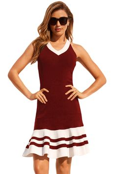 Burgundy White Cute Ruffle Hem Mini Dress e2154e3bc27d