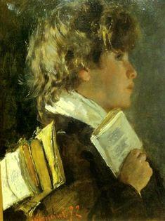 """""""Lo scolaro che porta i libri"""". Antonio Mancini (), Italian painter. Private collection."""