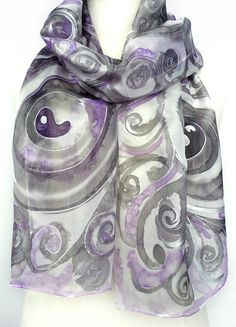 Scarves Silk Hand Painted Long Silk Scarf Handmade by TeresaMare, €28.00