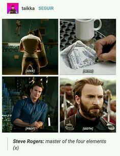Only Steve Rogers, master of all four elements could save the world. But when our world needed him most, he vanished into the ice>>>>>Is he the avatar now? Marvel Actors, Marvel Funny, Marvel Memes, Marvel Dc Comics, Marvel Characters, Chris Evans, Tom Holland, Geeks, Dc Memes