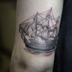 Small Ship Tattoo Design by West Coast Tattoo