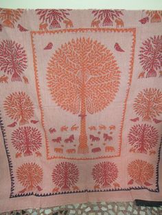 Tree Of Life Applique Patch work Kantha Quilt Quilted Bedspreads,Throws,Ralli,Gudari Handmade Tapestery King Bedding