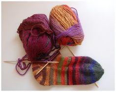 Toe-up striped socks in Puro wool
