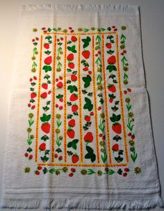 https://www.etsy.com/listing/151404198/vintage-kitchen-towel-strawberry-fields?ref=pr_shop // FOR SALE ON ETSY