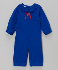 Take a look at this Royal Blue Corduroy Initial Playsuit - Infant by Monday's Child on #zulily today!