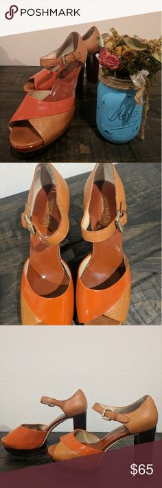 """Michael kors leather heels. Gently wore, no major wear.  Scratch mark on right front (see pic) and slightly right heel. Otherwise, perfect condition and no wear on the soles, inner soles. Heels 4.5"""" with 1"""" platform so technically 3.5"""" heels to feel when you wear them.  size 8 1/2. Perfect for summer! Michael Kors Shoes Sandals"""