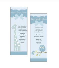 Personalized Baby Boy Shower Favor Bookmarks - set of 10 - blue