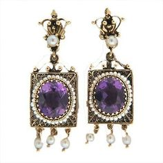 Vintage 9.00CT Oval Amethyst Pearl 1940 14K Gold Cultured Pearl Dangle Earrings - petersuchyjewelers
