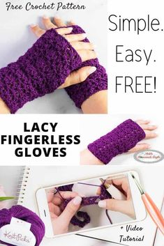 Learn how to crochet easy fingerless gloves using this free pattern. It uses double crochet stitches as well as sport weight yarn and is perfect as a gift for birthdays, Holidays, Christmas and Valentine's Day. It's the perfect quick weekend project for sure. #crochet #pattern #crochetpattern #diy #freecrochetpattern #freepattern #sportyarn #yarn #enchanted #diyprojects #diyideas #stylish #crochetstitch #tutorial #giftideas #stitchtutorial #crochetgloves #fingerlessgloves Quick Crochet, Basic Crochet Stitches, Crochet Basics, Double Crochet, Free Crochet, Crochet Mitts, Crochet Gloves Pattern, Mittens Pattern, Crochet Yarn