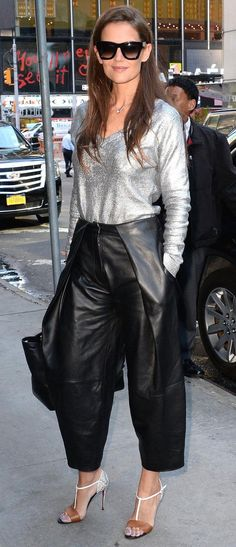 Silver metallic long sleeve top + black leather culottes