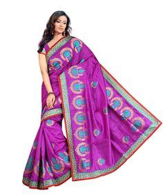 Purple Bhagalpuri Saree With Blouse 60058