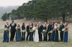 Megan & Connor | Foggy Wedding at Marin Headlands navy bridesmaids