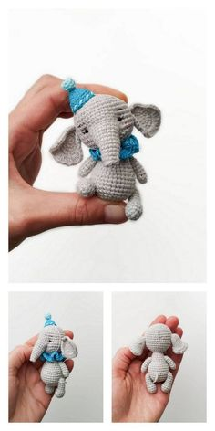 Doll Patterns Free, Crochet Patterns For Beginners, Felt Patterns, Crochet Patterns Amigurumi, Crochet Dolls, Amigurumi Elephant, Crochet Elephant Pattern, Crochet Animals, Crochet Projects
