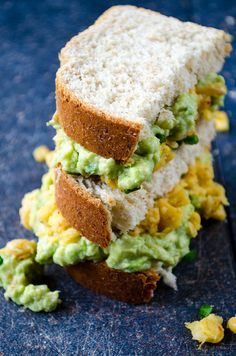 Avocado and chickpea sandwich is a wonderful vegan treat. Creamy avocado topped with spicy chickpeas in a sandwich.  giverecipe.com   #avocado #chickpeas