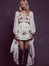 2017 bordados de flores longo dress livre algodão com decote em v manga comprida branca boho dress pessoas bandage sexy solto dress bohemian dress(China (Mainland))