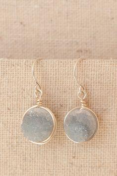 PANTONE SERENITY // Periwinkle Druzy Earrings, Serenity Blue Druzy Earrings, Something Blue Earrings, Delicate Druzy Bridesmaid Earrings, Purple Drusy Earrings, modern jewelry by J'Adorn Designs