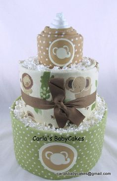 Neutral diaper cake | Baby diaper cake | Baby shower decoration | Baby shower gift | Elephant diaper cake | New baby gift | Mom to be gift by MsCarlasBabyCakes on Etsy