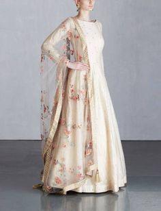 Ivory Anarkali Set with Parsi Thread Embroidered Dupatta Indian Gowns, Indian Attire, Pakistani Dresses, Pakistani Clothing, Indian Wedding Outfits, Indian Outfits, Wedding Dresses, Indian Clothes, Ethnic Dress