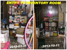 ENTRY into my eBay INVENTORY STORAGE ROOM in the BASEMENT:  Before & After Organized - MsFrugalady's items - Home Organizing Storage Room, Storage Ideas, Home Organization, Organizing, Business Management, Selling Online, Ecommerce, Basement, Bb