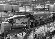 The first 737 under construction at Boeing Field in 1966.