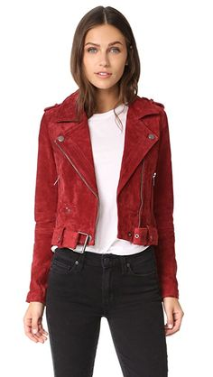 Buy Blank Denim Leather jacket for woman at best price. Compare Jackets prices from online stores like Shopbop - Wossel Global Fall Jackets, Jackets For Women, Outerwear Jackets, Red Suede Jacket, Red Denim Jacket, Madewell, Blank Denim, Moto Jacket, Casual Outfits