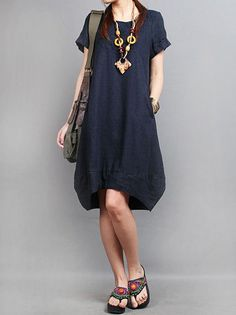 Summer dress Loose fitting linen Dress(more colour and size choice)