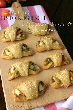Malwach Pesto Rugelach with Goat Cheese and Tomatoes: Savory, doughy, crispy and so delicious! Makes for a great party appetizer!!!!