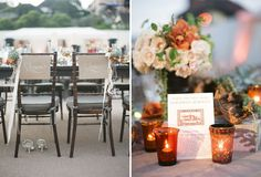 An Organic Beach Wedding Reception chair signs