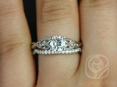 Ready to Ship Cassidy Solid White Gold Round Forever One Moissanite Celtic Love Knot Triquetra Wedding Set Rings,Rosados Box Celtic Wedding Rings, Wedding Rings Simple, Beautiful Wedding Rings, Wedding Rings Solitaire, Wedding Rings Vintage, Bridal Rings, Wedding Set, Perfect Wedding, Dream Wedding