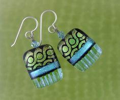 Lime Crush Dichroic Earrings, Handmade Fused Glass Jewelry