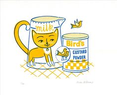 Say hello to the cat who got the custard, instead of the cream! Inspired by my love of cats and a vintage Birds custard tin in my collection..He would look right at home in your kitchen! Custard the Cat is a limited edition gocco print lovingly hand printed on my Gocco PG Arts from my hand drawn design. * Signed and numbered from an edition of 40 * Printed in 2 colours: vibrant custardy yellow and deep blue * Printed on Pristine White 270 gsm Colorplan paper in size 10 x 8 (20cm x 25cm) ...