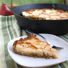 Zucchini banana bread crust, cheesecake center, pear and goat cheese topping.