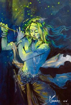 Buy Krishna, a Watercolor Painting on Paper, by satish tayade from India, For sale, Price is $880, Size is 16 x 12 x 0.1 in.