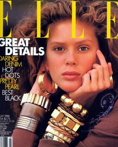 Elle Us July 1988 - Rachel Hunter Rachel Hunter, 80s And 90s Fashion, Elle Fashion, Fashion 2018, Best Fashion Magazines, Fashion Magazine Cover, Magazine Covers, Yasmin Le Bon, Original Supermodels