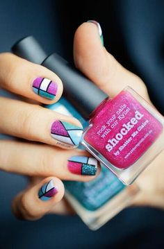 piCture pOlish nail art by Pshiiit Fancy Nails, Love Nails, How To Do Nails, Pretty Nails, My Nails, Colorful Nail Art, Geometric Nail Art, Geometric Patterns, Picture Polish