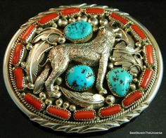 Fabulous Sterling Silver Coral Turquoise Navajo Belt Buckle Wolf Signed H | eBay
