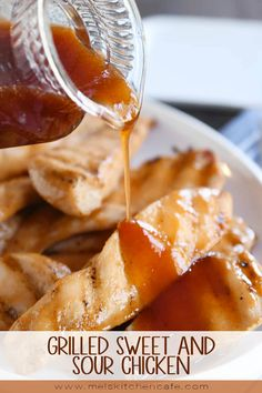 A healthier take on the popular classic this grilled sweet and sour chicken is fantastic! Thanks to a quick brine the chicken is ultra tender and that homemade sweet and sour sauce is divine (as always). Turkey Recipes, New Recipes, Favorite Recipes, Amazing Recipes, Dinner Recipes, Grilling Recipes, Cooking Recipes, Grilling Tips, Honey