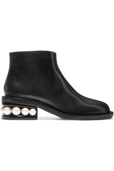 Nicholas Kirkwood - Casati Faux Pearl-embellished Leather Boots - Black - IT38.5