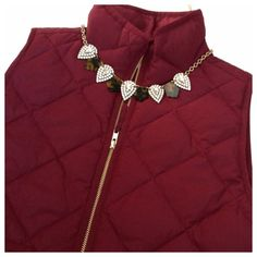J. Crew burgundy quilted puffer vest Down-filled poly. Hits at hip. Standing collar. Zip closure. Patch pockets with hidden snap closure. Machine wash. Excellent condition.  From factory.  Burgundy color- closest to the last picture on the right J. Crew Jackets & Coats