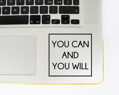 laptop decal,macbook pro decal, you can do it decal, motivation decal, macbook sticker, motivation decal, Car Window Decal, you can you will by dadavinylsanddesigns on Etsy