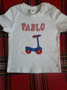 """Camisetas para niños realizadas en patchwork. Camisetas deoradas """"ME GUSTA"""" Facebook"""