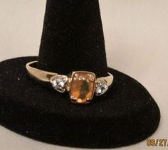 Sale! ~.95 TCW Faceted Natural Fire Opal & Diamond 9K Yellow Gold Ring Sz 12.5 #Unbranded #SolitairewithAccents
