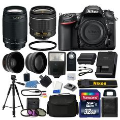 Nikon D7200 Digital SLR Camera 32GB 4 Lens Kit: 18-55mm VR  70-300mm Best Value