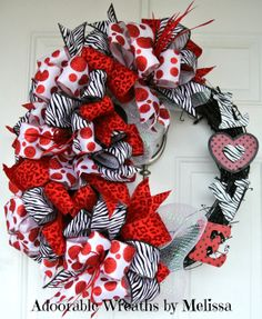 Funky Valentine's Day Grapevine Wreath Adoorable Wreaths by Melissa