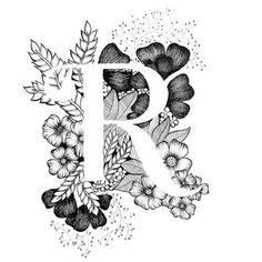 Letter A print – alphabet, calligraphy, typography, monogram, flowers – black and white ink art prin - Top 99 Pencil Drawings Lettering Design, Hand Lettering, Caligraphy Alphabet, Flower Letters, Illustration, Motif Floral, Letter Art, Letter R Tattoo, Letter Monogram