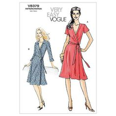 - Misses' A-Line Wrap Dress sewing pattern by Vogue Patterns Vogue Patterns, Easy Sewing Patterns, Vintage Sewing Patterns, Clothing Patterns, Dress Patterns, Wrap Front Dress, Miss Dress, Sewing Clothes, Wrap Dresses