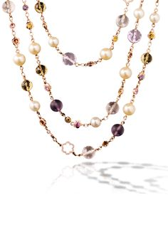 Chanel Baroque sautoir in 18k pink gold, colored sapphires, colored stones, cultured pearls and diamonds