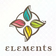 Four leaves representing for elements. earth, wind, fire, and water. A great logo template