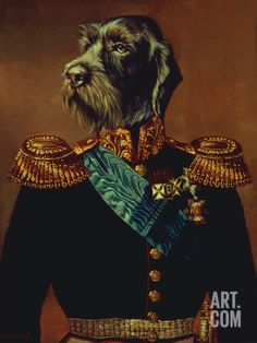 Premium Giclee Print: Royal Officer Art Print by Thierry Poncelet by Thierry Poncelet : Royal Animals, Animal Heads, Animal Fashion, Dog Portraits, Pet Clothes, Animal Paintings, Dog Art, Giclee Print, Illustration Art